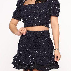 Polka Dot Skirt Set - Navy/White